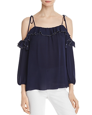 Joie Eukene Cold-Shoulder Silk Top