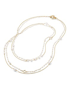 David Yurman - Oceanica Two Row Chain Necklace in 18K Gold with Pearls