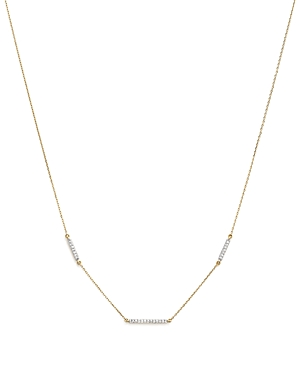 Adina Reyter 14K Yellow Gold Triple Pave Diamond Bar Choker Necklace, 13.5