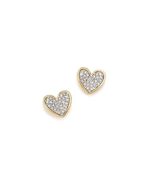 Adina Reyter - 14K Yellow Gold Tiny Pavé Diamond Folded Heart Stud Earrings