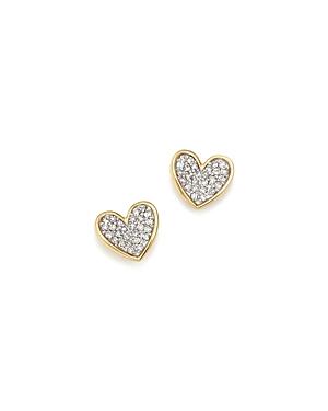 Adina Reyter 14K Yellow Gold Tiny Pave Diamond Folded Heart Stud Earrings