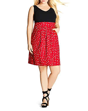 New City Chic Racoon Fever Printed Dress, Scarlet