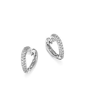 Diamond Heart Hoop Earrings in 14K White Gold, .30 ct. t.w. - 100% Exclusive