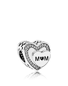 PANDORA Sterling Silver & Cubic Zirconia Tribute to Mom Charm - Bloomingdale's_0