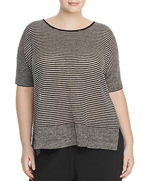Eileen Fisher Plus Mixed Knit Stripe Sweater