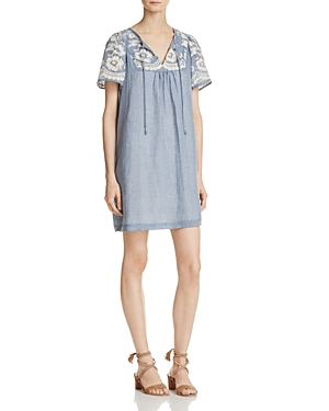 Beltaine Embroidered Chambray Dress