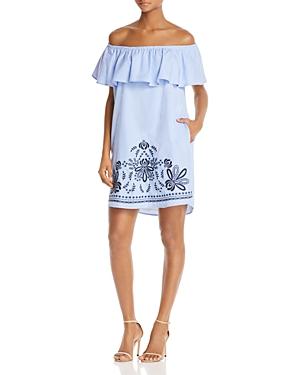 Aqua Embroidered Off-the-Shoulder Poplin Dress - 100% Exclusive