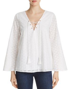 Finn & Grace Eyelet Lace-Up Top - 100% Exclusive