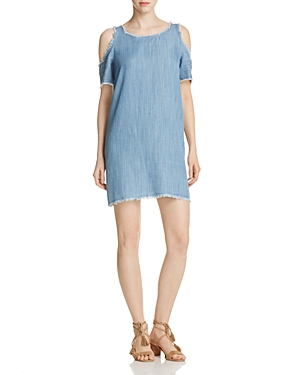 Elan Denim Cold Shoulder Shift Dress