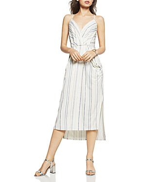 BCBGeneration Textured Stripe Faux-Wrap Midi Dress