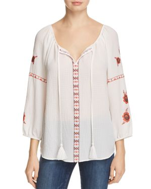 Cupio Embroidered Peasant Top