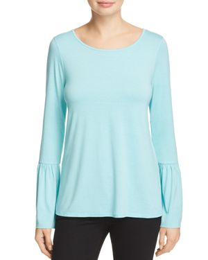Three Dots Button Back Bell Sleeve Top