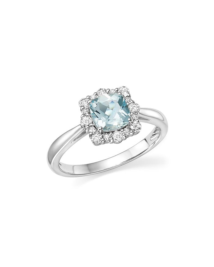 Bloomingdale's - Cushion-Cut Aquamarine and Diamond Ring in 14K White Gold - 100% Exclusive