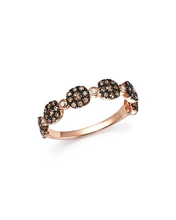 Bloomingdale's - Brown and White Diamond Micro Pavé Stacking Band in 14K Rose Gold - 100% Exclusive