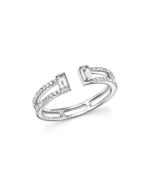 Diamond Round and Baguette Open Band in 14K White Gold, .40 ct. t.w. - 100% Exclusive