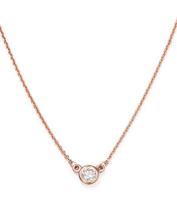 Bloomingdale's - Diamond Bezel Set Pendant Necklace in 14K Rose Gold, .15 ct. t.w. - 100% Exclusive