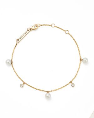 Zoe Chicco 14K Yellow Gold Cultured Freshwater Pearl and Diamond Charm Bracelet