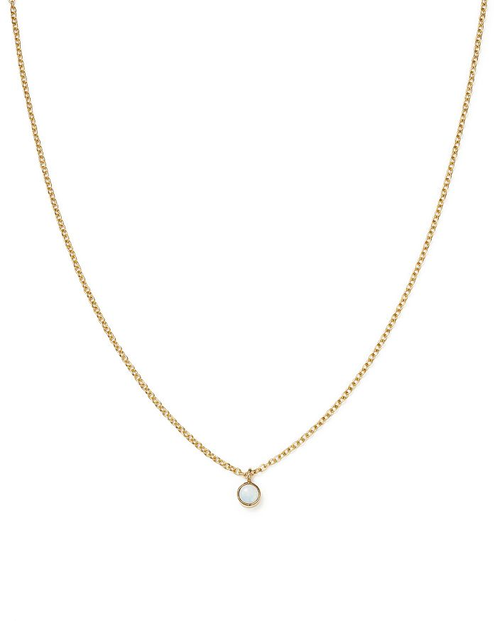 ZoË Chicco 14K Yellow Gold Opal Drop Choker Necklace, 14 In White/Gold