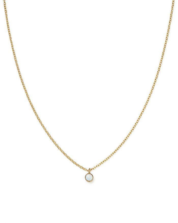 "Zoë Chicco - 14K Yellow Gold Opal Drop Choker Necklace, 14"""