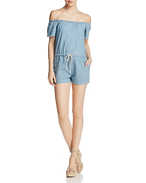 Mother Off-the-Shoulder Denim Romper