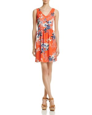 Aqua Floral V-Neck Fit-and-Flare Dress - 100% Exclusive
