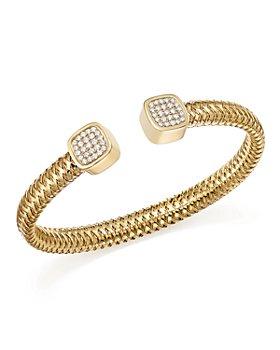 Roberto Coin - 18K Yellow Gold Primavera Diamond Capped Cuff