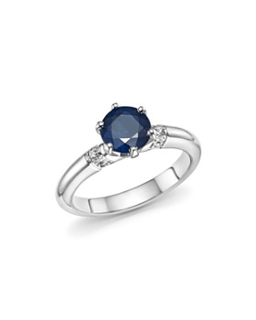 Roberto Coin - Platinum Solitaire Sapphire and Diamond Ring