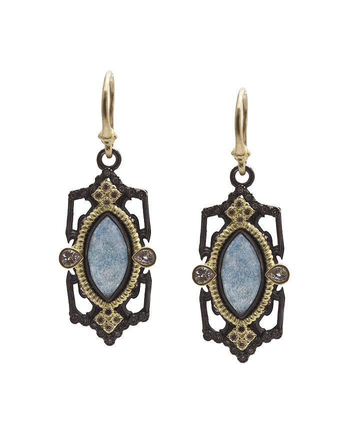 Armenta - 18K Yellow Gold and Blackened Sterling Silver Old World Marquis Blue Quartz Triplet, Champagne Diamond and White Sapphire Drop Earrings - 100% Exclusive