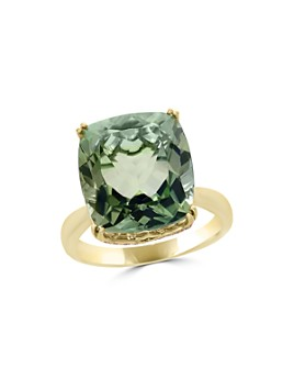 Bloomingdale's - Prasiolite Cushion and Diamond Ring in 14K Yellow Gold - 100% Exclusive