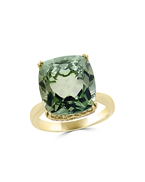 Prasiolite Cushion and Diamond Ring in 14K Yellow Gold - 100% Exclusive