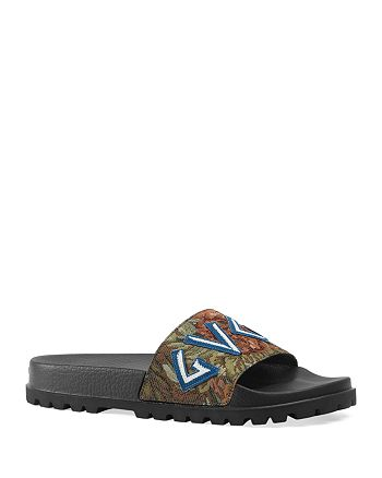 Gucci - Men's Floral Brocade Slide Sandals