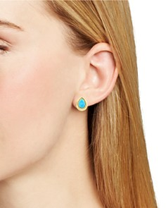 Bloomingdale's - Turquoise and Diamond Halo Teardrop Stud Earrings in 14K Yellow Gold - 100% Exclusive