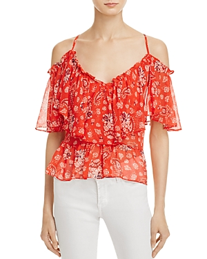 Misa Los Angeles Majo Paisley Print Cold-Shoulder Top