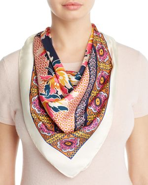 Tory Burch Tiger Lily Silk Square Scarf