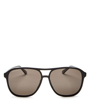 Gucci Polarized Brow Bar Aviator Sunglasses, 60Mm, Black