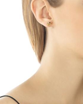 JOHN HARDY - John Hardy 18K Gold Naga Diamond Pavé Extra Small Dragon Head Studs Earrings with African Ruby Eyes