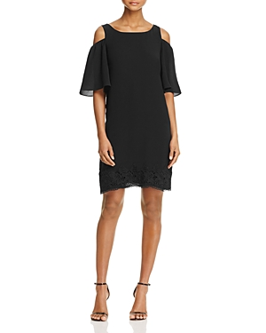 Adrianna Papell Cold-Shoulder Lace Trim Dress