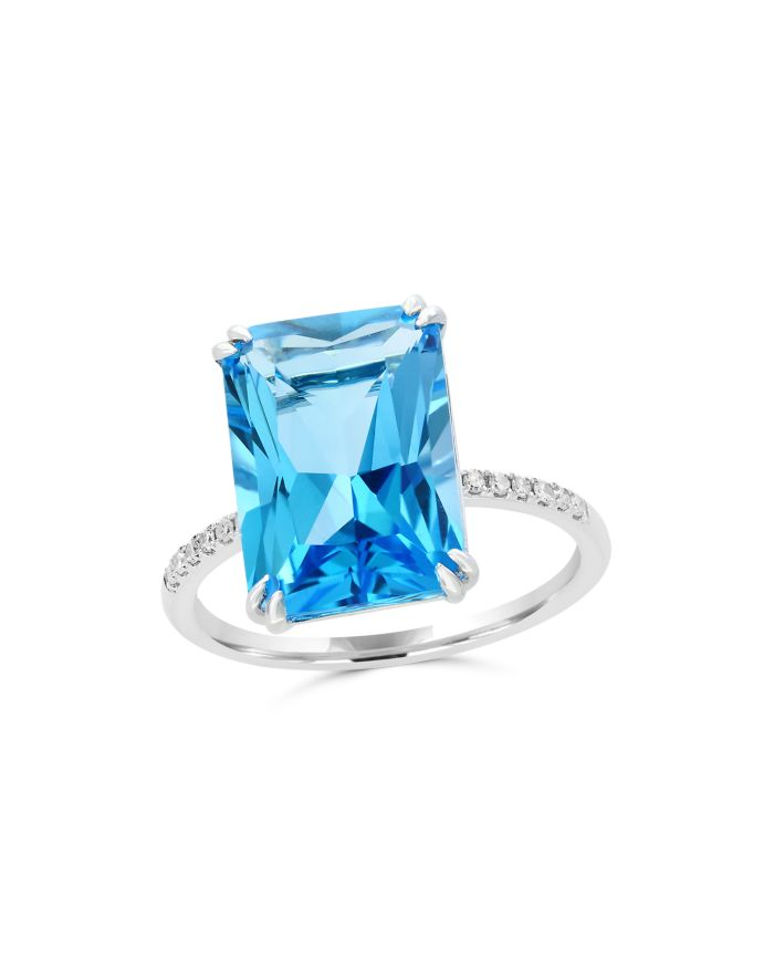 Bloomingdale's Blue Topaz and Diamond Statement Ring in 14K White Gold - 100% Exclusive   | Bloomingdale's