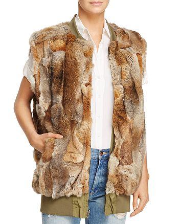 Adrienne Landau - Reversible Bomber Rabbit Fur Vest - 100% Exclusive