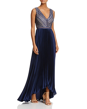 Adrianna Papell V-Neck Lace Bodice Gown