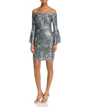Aqua Sequin Off-the-Shoulder Dress - 100% Exclusive