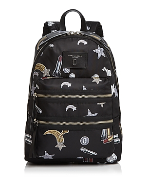 Marc Jacobs Biker Tossed Charms Print Nylon Backpack