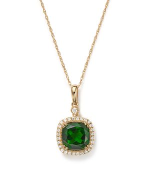 Chrome Diopside and Diamond Halo Pendant Necklace in 14K Yellow Gold, 18 - 100% Exclusive