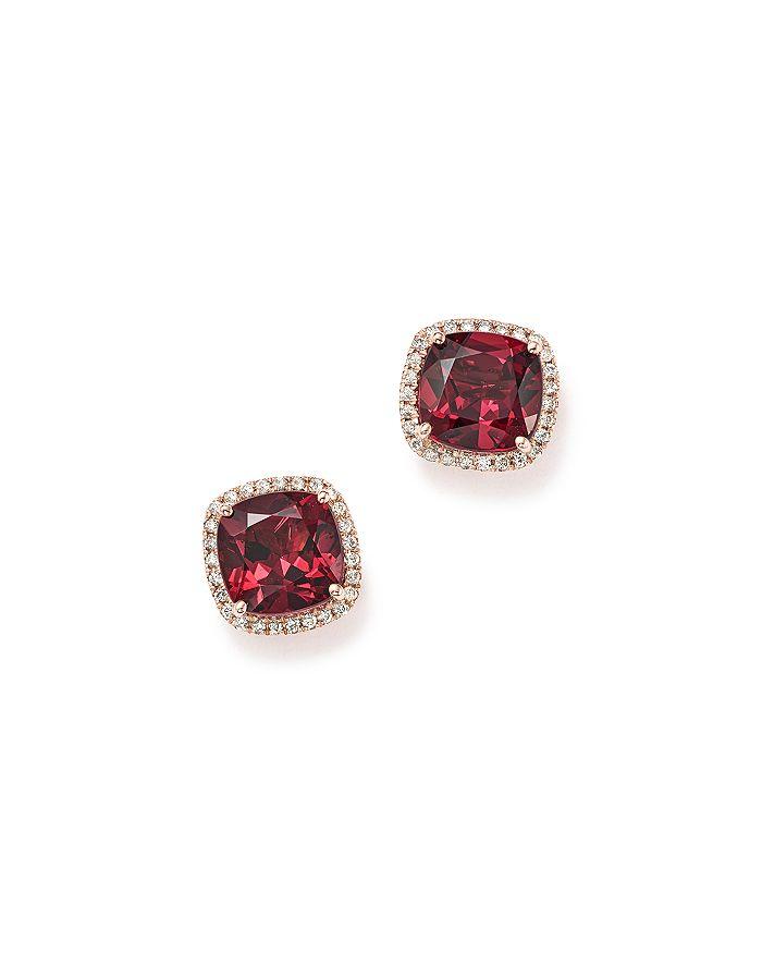 Bloomingdale's - Cushion-Cut Rhodolite Garnet and Diamond Halo Earrings in 14K Rose Gold - 100% Exclusive