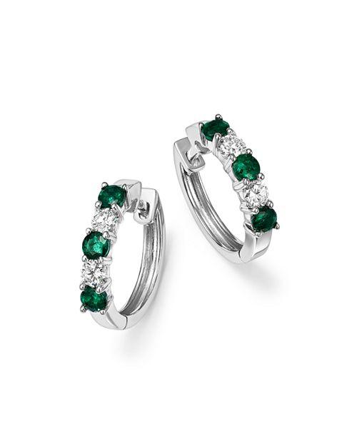 Bloomingdale's - Emerald and Diamond Hoop Earrings in 14K White Gold - 100% Exclusive