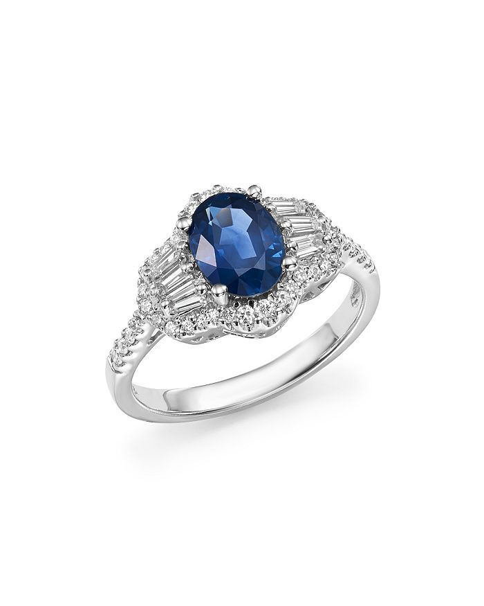 Bloomingdale's - Blue Sapphire Oval and Diamond Statement Ring in 14K White Gold - 100% Exclusive