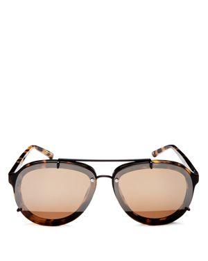 3.1 Phillip Lim Mirrored Brow Bar Aviator Sunglasses, 60mm