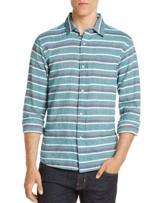 SOL ANGELES Glade Stripe Regular Fit Button-Down Shirt in Green