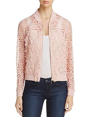 T Tahari Fatima Floral Lace Bomber Jacket