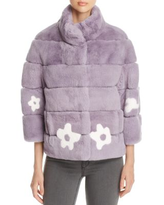 RABBIT FUR FLORAL JACKET - 100% EXCLUSIVE